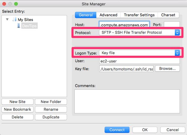 FileZillaで網元に接続する設定方法